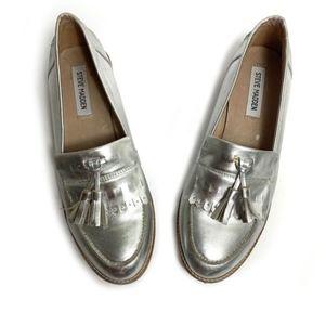 Steve Madden Silver Loafers